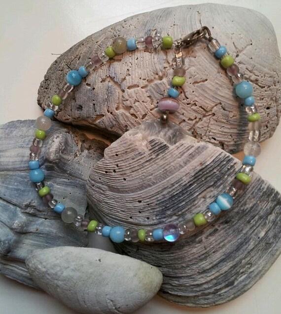 Beaded Anklet, Anklet Bracelet, Beach Jewelry, Summer Jewelry, Bead Ankle Bracelet, Anklet for Women, Delicate Anklet, Handmade Anklet