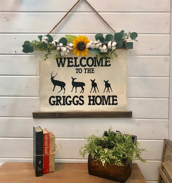 Farmhouse Wall Decor Welcome Sign with Deer Sign Personalized with Last Name Comes with Sunflower Garland Custom Farm house Sign