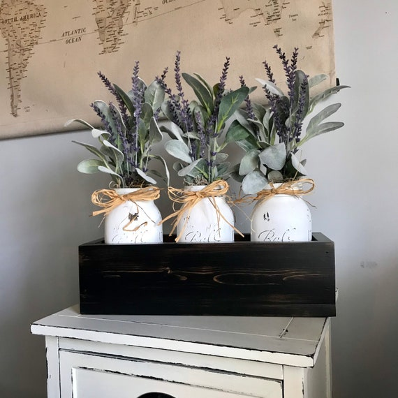 Black and White Home Decoration for Dining Room, Living Room Table or Fireplace Mantle decor, Flowers for Mom Gift