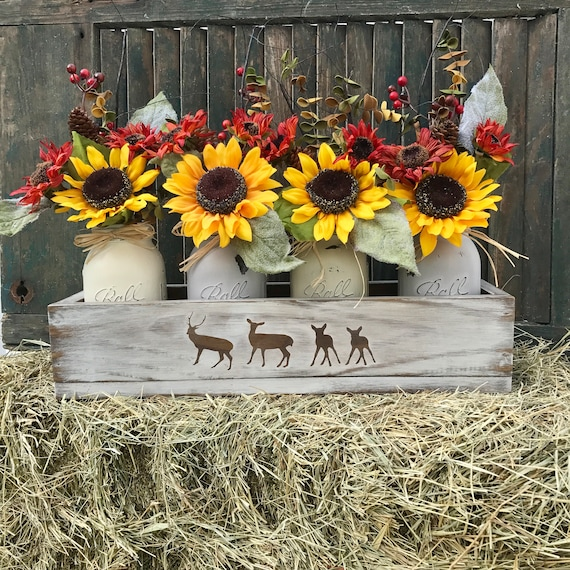 Home Decor Floral Arrangement, Rustic Decor Fall, Rustic Wedding, Living Room Home Decor, Wedding home decor, Mason Jar Floral Arrangement
