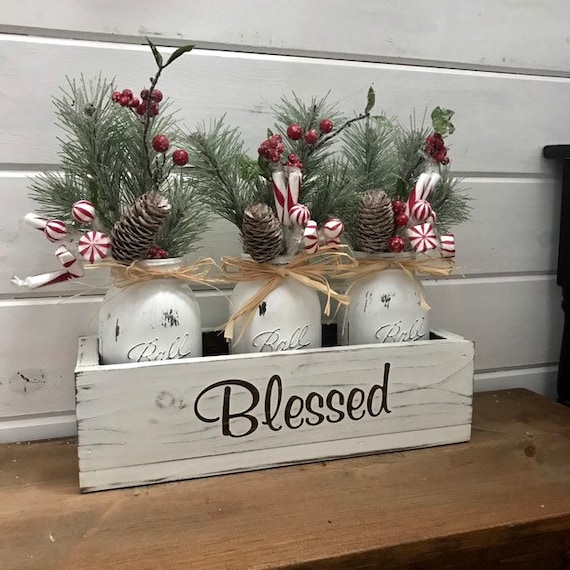 Holiday Mantel Decor, Christmas Decorations, Mason Jar Decor, Rustic Christmas Fireplace Centerpiece Personalized Gift for Best Friend