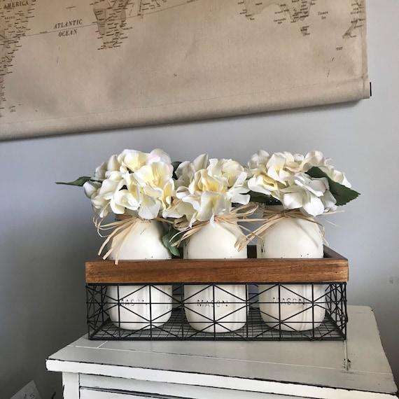 Mason Jar, Flower Arrangement, Modern Farmhouse Decor, Kitchen Bar Decor, Living Room Coffee Table Arragnement, Dining Room Table Decor
