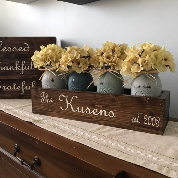 Personalized Gifts Mason Jar Floral Arrangement for a Housewarming, Last Name Wood Box with Year, Hydrangea Flowers in Mason Jars