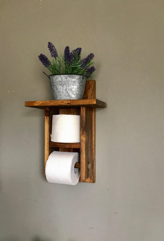 Toilet Paper Holder Bathroom Decor Storage Bath TP Roll Rustic Rack