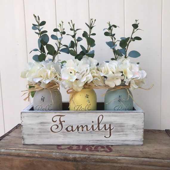 Mason Jar Decor Centerpiece Farmhouse Decor Country Home Decor Painted Mason jars Rustic Floral Arrangement Wood Centerpiece Box