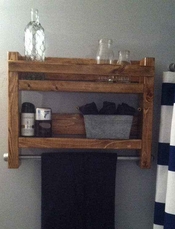 Bathroom Shelves with Towel Rack, Guest Bathroom Decor, Wall Shelf for Bathroom, Shelves Over Toilet, Rustic Bathroom Decor, Shelf