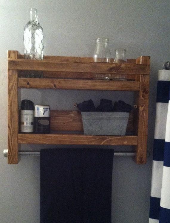 Farmhouse Bathroom Wall Decor Shelves with A Rustic Finish Towel Bar for Bathroom Storage Cottage Decor Beach Decor