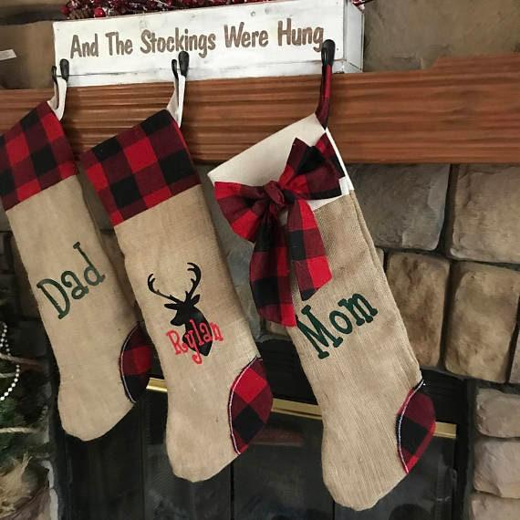 Buffalo Plaid Christmas Stocking Set, Four Personalized Stockings, Plaid Stocking Set, Stockings with Name, Christmas Stockings Personalized