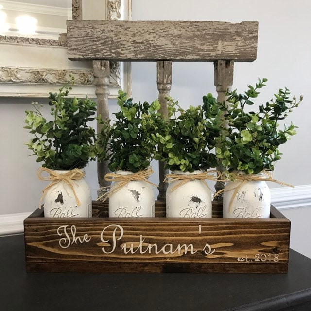 Home Decor Rustic Living Room Floral Arrangement Country Table Mason Jars Boxwood Personalized Wood Box With Family Name