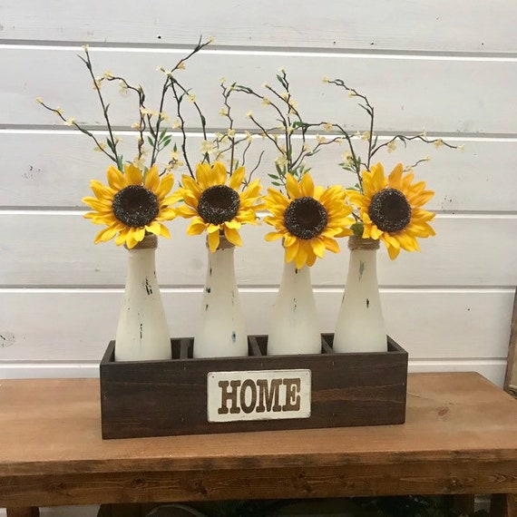 Spring Sunflower Floral Arrangement, Planter Wood Box Centerpiece, Flower Vases for Home Decor, Spring Decorations Flowers