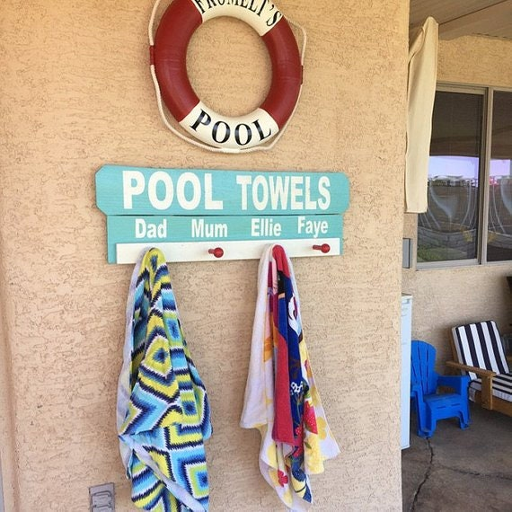 Personalized Pool Sign Personalized Pool Wood Signs Custom Pool Signs Personalized Towel Hooks Pool Towel Rack Beach Towel Rack