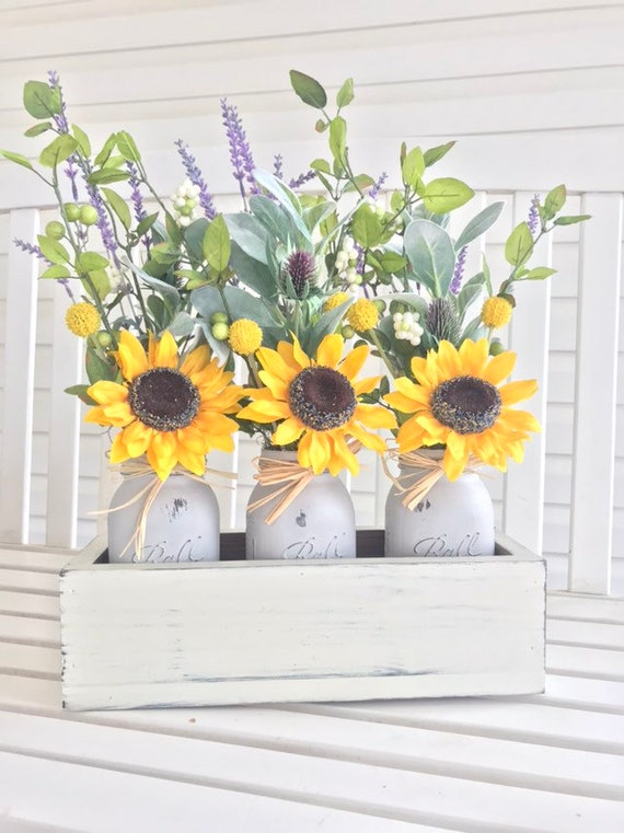 Personalized Farmhouse Decor Gift Farmhouse Flower Personalized Wood Box Sunflower decorations for Personalized House Warming Gift Rustic