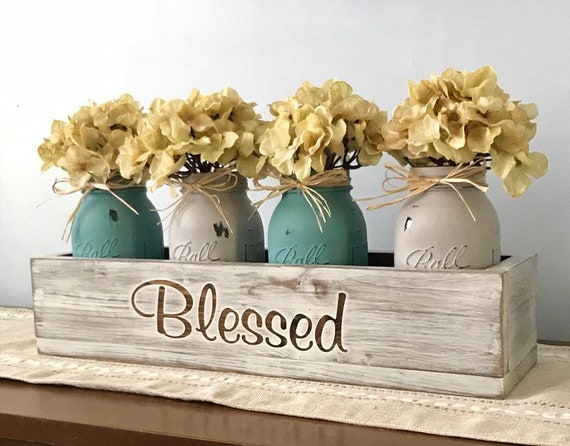 Rustic Home Decor Mason Jar Centerpiece, Rustic Centerpiece, Wedding Centerpiece Mason Jars