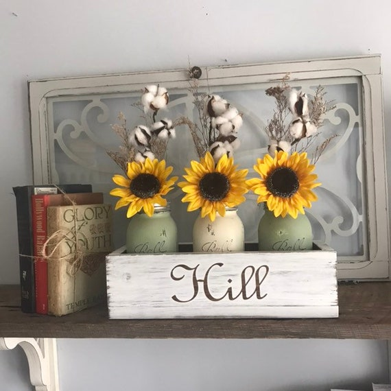 Fall Home Decor Sunflower Cotton Arrangement, Custom Family Name Gift, Fall Table Centerpiece, Floral Arrangement for Anniversary, Country