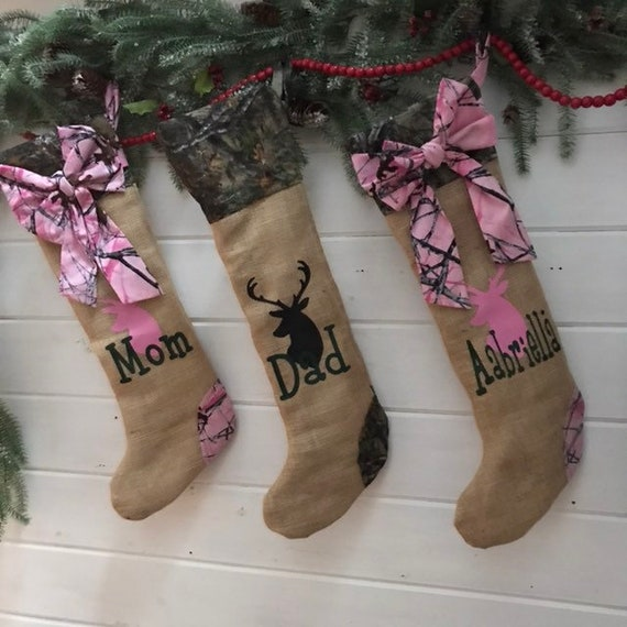 Camo Personalized Christmas Stocking A Burlap Stocking Perfect Man Christmas Stocking Hunters Christmas Stocking for Boy or Girls Pink Camo