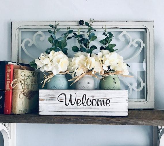 Coffee Table Decor, Modern Decor, Mason Jar Flowers for Living Room, Fireplace Mantle Centerpiece, Floral Shelf Decor, Kitchen Island Gift