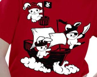 Kids Pirate Bunny Shirt - Kids Rabbit Shirt - Kids Pirate Shirt - Boys Pirate Shirt Girl Pirate Shirt - Toddler Pirate Shirt Cute Kids Shirt