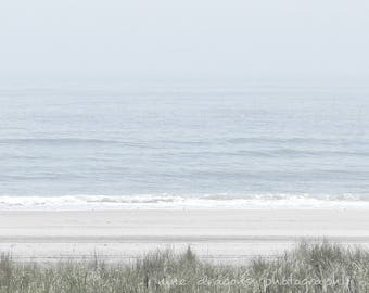 Minimalist Pale Blue Beach Art Print, Beach Photography, Beach Cottage Art, Blue Ocean Art,Foggy Beach Print,Coastal Wall Art,Beach Wall Art