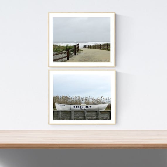 OCNJ Beach Photography Set of Two Prints, Gallery Wall Beach Prints,Jersey  Shore Wall Art Set of 2,Beach Wall Art,Ocean Prints,Ocean City NJ