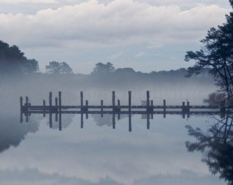Tonalism Landscape Photography, Chesapeake Bay Nature Photography, Eastern Shore Foggy Water Print, Dock of the Bay Maryland Art, Moody Art