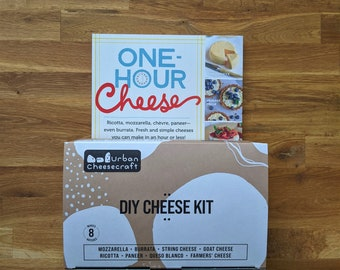 Cheese Kit & Book Bundle- One Hour Cheese Book and Deluxe DIY Cheese Supplies