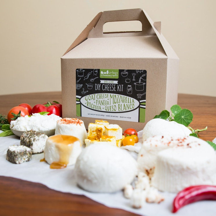 Deluxe Cheese Kit - Mozzarella, Ricotta, Goat Cheese, Paneer, Queso Blanco (cow and goat milk)