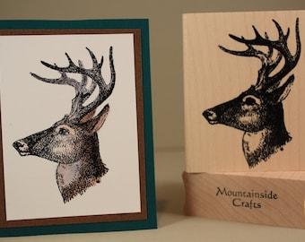 DEER STAMP BUCK Stag Head Antlers Male Deer Rustic Sketch Illustration Forest Animal Wood Mounted Rubber Stamp 20 15