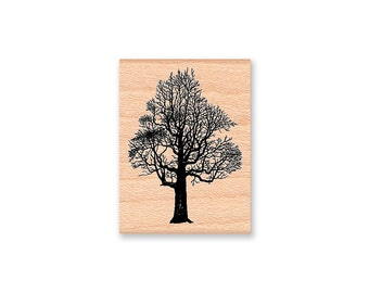 TREE Rubber Stamp~Bare Branches~Fall Winter Season~Landscape Tree~Christmas Holiday Crafting~Wood Mounted~Mountainside Crafts (32-21)