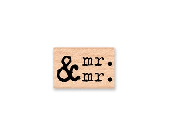 mr. and mr.-wood mounted rubber stamp-(33-06)