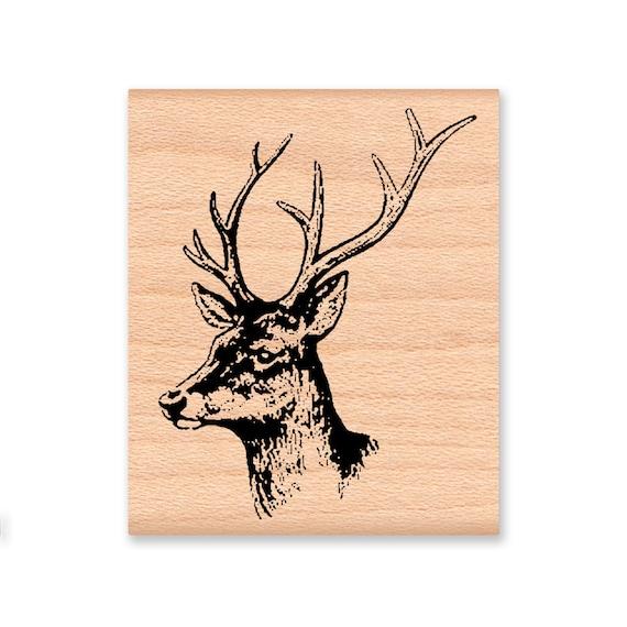 DEER RUBBER STAMP Buck Stag Head Antlers Male Deer Rustic