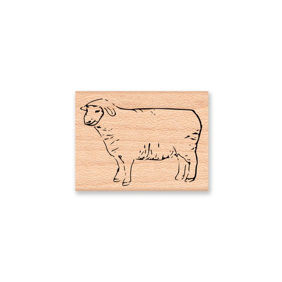 sheep rubber stamp lamb ewe farm animal wool wooly country etsy