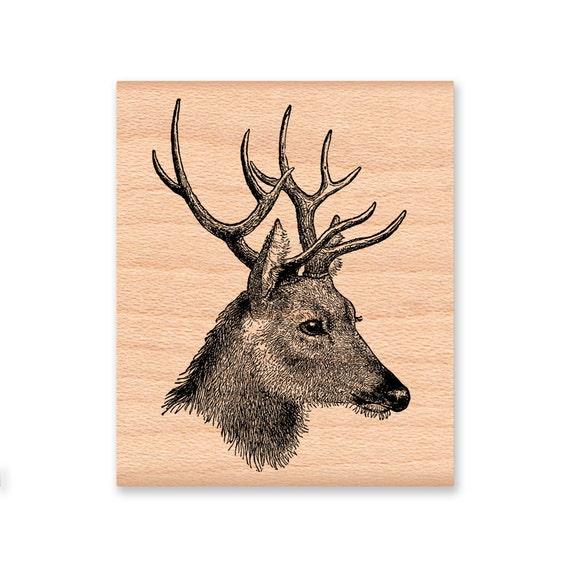 DEER RUBBER STAMP Buck Stag HeadSketchIllustrationWood