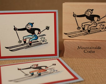 DOWNHILL SKIING  - wood mounted rubber stamp -(MCRS 24-02)