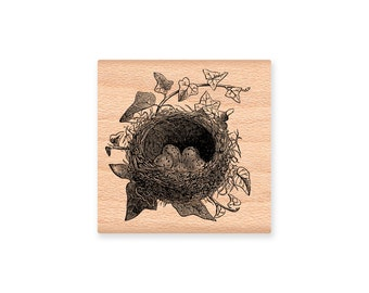 BIRD NEST STAMP Birds Nest Baby Birds Twig nest with ivy leaves eggs in nest robins nest Spring Easter new baby  (32-22)