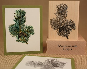 SCOTCH PINE  - wood mounted rubber stamp -(MCRS 24-03)