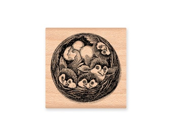BIRD NEST STAMP Baby Birds nest nest of baby birds welcome new baby hatched babies spring easter baby robins rubber stamp(lg 42-06)(sm30-17)
