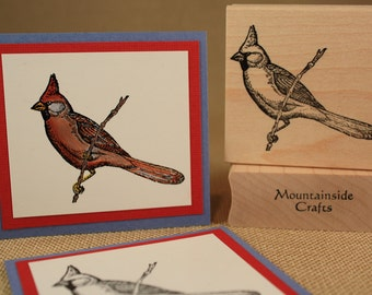 CARDINAL BIRD Rubber Stamp~Christmas Stamp~Winter Holiday~Wood Mounted Rubber Stamp (22-27)