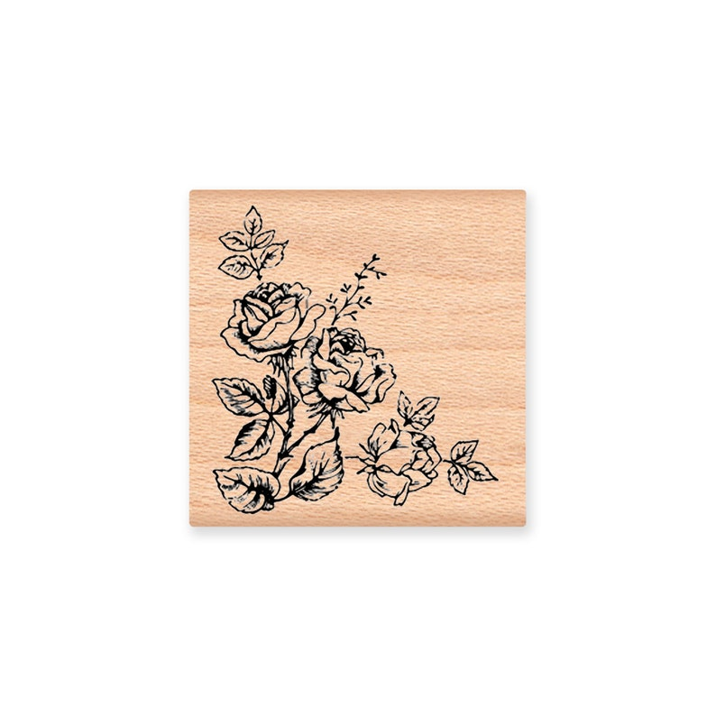 21-28 ROSE FLOWER Rubber Stamp~Flower Spray~Rose Bouquet~Wedding Birthday or Sympathy Stamp~Wood Mounted Stamp by Mountainside Crafts