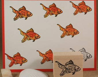 GOLDFISH Rubber Stamp~Fantail Goldfish Stamp~Pet Goldfish Stamp~Tropical Fish~Ocean and Sea Life~Wood Mounted Rubber Stamp (24-10)