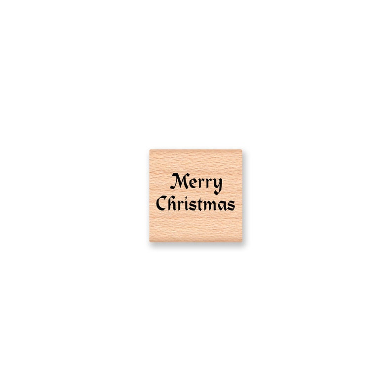 Wood Mounted Rubber Stamp mcrs 12-07 MERRY CHRISTMAS