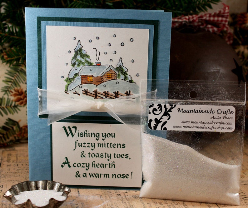 mcrs 01-01 SNOWY WINTER CABIN wood mounted rubber stamp large