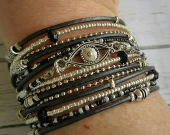Evil Eye Bracelet - Protection Bracelet - Evil Eye Cuff - Womens Wrap Bracelet - Best Selling Item  - Choose Leather Color