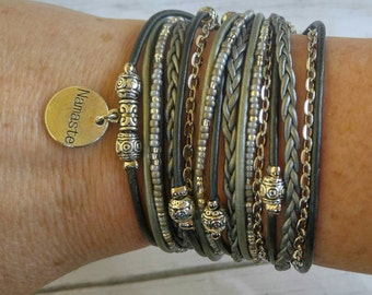 Best Boho Wrap Bracelet - Namaste - Hippie Style Bracelet- Multistrand Leather Bracelet - Best Selling Item - Choose 1 Charm - Customizable