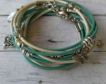Multistrand Wrap Bracelet - Modern Boho Wrap - Music Festival Bracelet - Womens Leather Bracelet - Choose Four Charms - Customizable