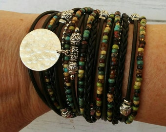 Boho Wrap Bracelet - Multistrand Leather Bracelet - Wrap Bracelets for Women - 2017 Best Trends - Choose ONE Charm - Customizable