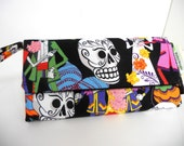 Envelope Wallet Day of the Dead Sugar Skull Wallet Wristlet Coin Purse Check Book Cell Phone Bridesmaid Gifts