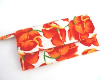 Envelope Wallet / Women's Wallet Red and Orange Poppies  LAST ONE