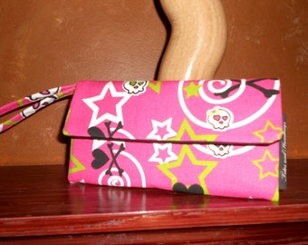 Envelope Wallet / Wallet /  Wristlet / Checkbook Pouch / Cell Phone / Skull and Bones and Stars in Candy Pink
