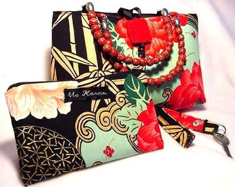 Lady Yang  Handbag-Purse - 3 piece set - Floral and Bamboo - Key Fob - Zippered Pouch