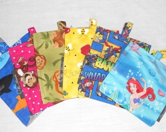 Snack Bags GRAB BAG 2 or More / Back To School / Washable / Eco Friendly / Cookies / Goldfish / Pretzels / Resealable Bag